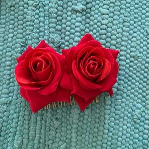Two red rose hair accessories